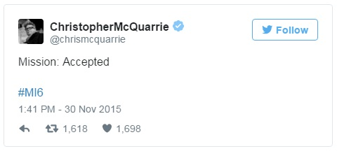 christopher mcquarrie twitter mision imposible